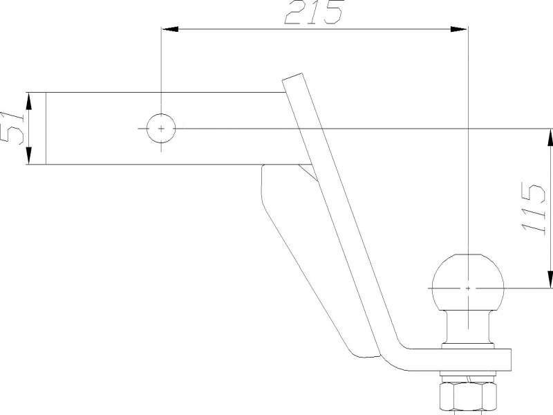 Фаркоп с пальцем под квадрат 50мм  AH-2