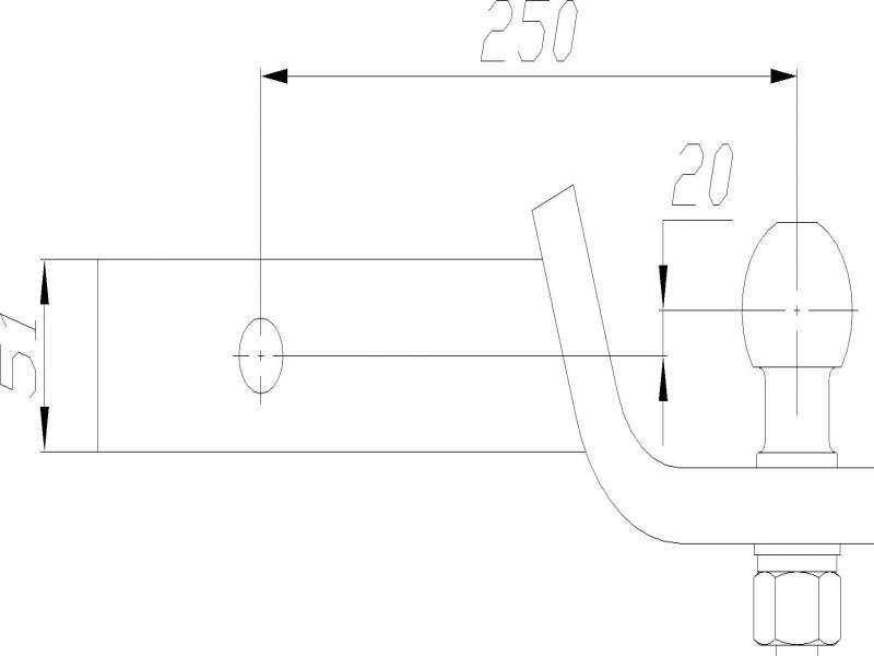 Фаркоп с пальцем под квадрат 50мм  AH-4